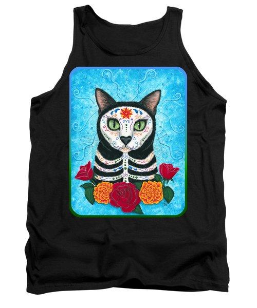 Day Of The Dead Cat - Sugar Skull Cat Tank Top