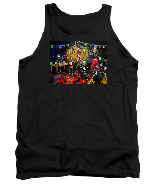 Tank Top featuring the painting Day Of The Dead Festival by Pristine Cartera Turkus