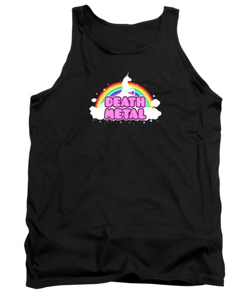Death Metal Funny Unicorn  Rainbow Mosh Parody Design Tank Top by Philipp Rietz