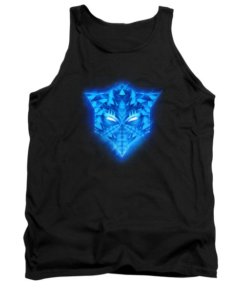 Deep Blue Collosal Low Poly Triangle Pattern  Modern Abstract Cubism  Design Tank Top