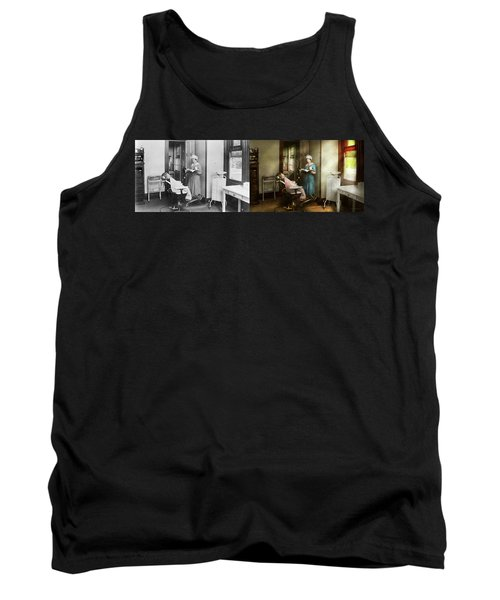 Tank Top featuring the photograph Dentist - Patients Is A Virtue 1920 - Side By Side by Mike Savad