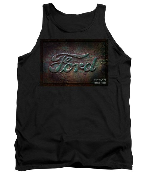 Detail Old Rusty Ford Pickup Truck Emblem Tank Top