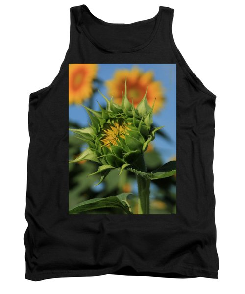 Tank Top featuring the photograph Developing Petals On A Sunflower by Chris Berry