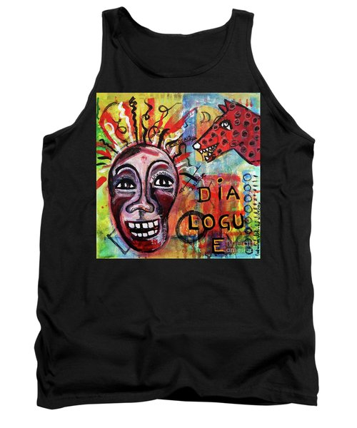 Tank Top featuring the mixed media Dialogue Between Red Dawg And Wildwoman-self by Mimulux patricia no No