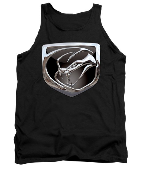 Dodge Viper - 3d Badge On Black Tank Top by Serge Averbukh