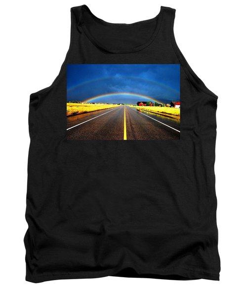 Double Rainbow Over A Road Tank Top by Matt Harang