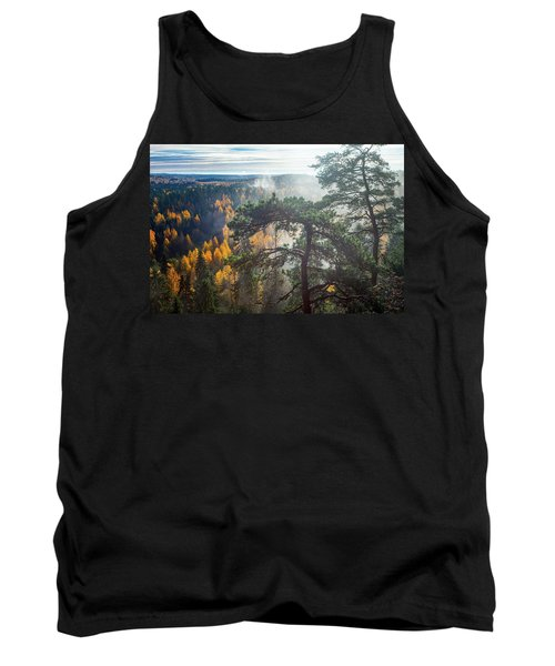 Dramatic Autumn Forest With Trees On Foreground Tank Top