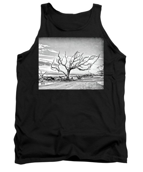 Tank Top featuring the photograph Driftwood Beach - Black And White by Kerri Farley