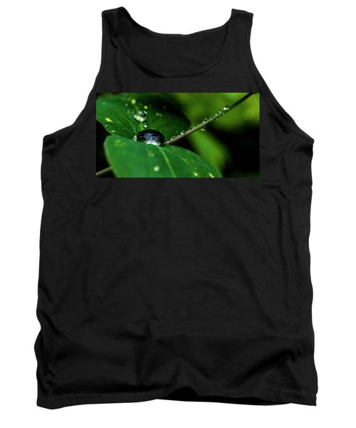 Tank Top featuring the photograph Droplets On Stem And Leaves by Darcy Michaelchuk