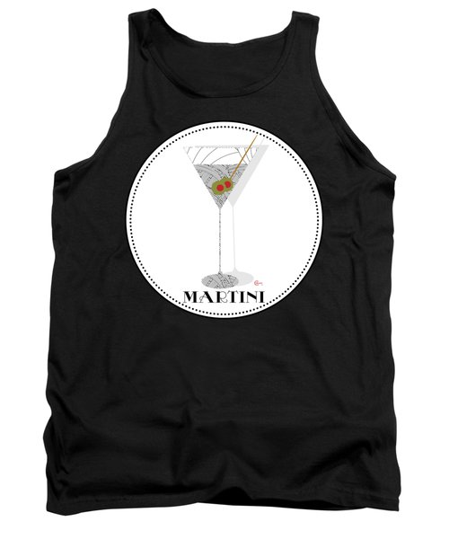 Dry Martini Cocktail Pop Art Deco Tank Top by Cecely Bloom