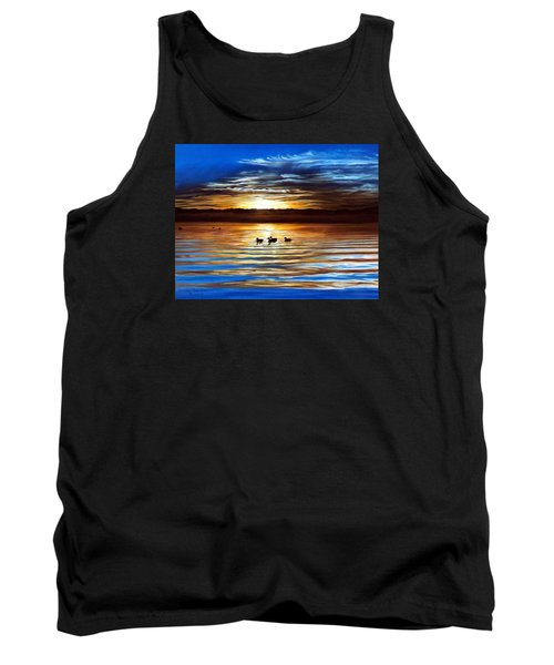 Ducks On Clear Lake Tank Top by Linda Becker