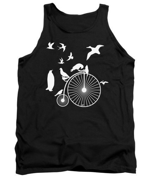 Dudes The Birds Are Flocking White Transparent Background Tank Top