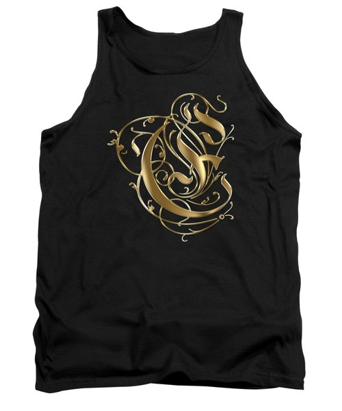 E Golden Ornamental Letter Typography Tank Top