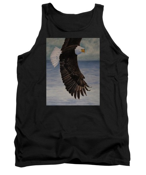 Tank Top featuring the painting Eagle - Low Pass Turn by Roena King