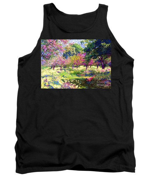 Echoes From Heaven, Spring Orchard Blossom And Pheasant Tank Top by Jane Small