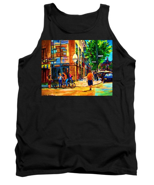 Tank Top featuring the painting Eggspectation Cafe On Esplanade by Carole Spandau