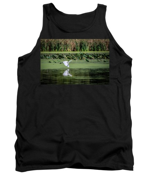 Egret Over Wetland Tank Top by Ray Congrove
