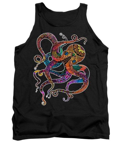 Electric Octopus On Black Tank Top