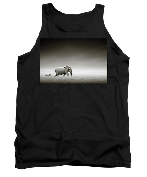 Elephant With Zebra Tank Top