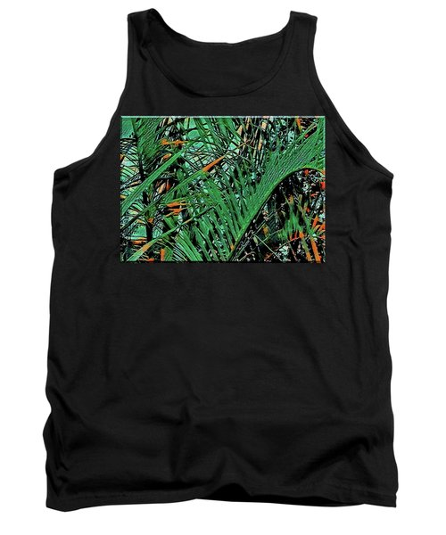 Tank Top featuring the digital art Emerald Palms by Mindy Newman