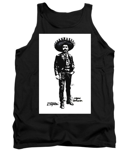 Tank Top featuring the drawing Emiliano Zapata by Antonio Romero