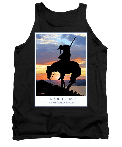 End Of The Trail Sculpture In A Sunset Tank Top