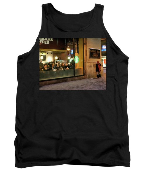 Tank Top featuring the digital art Faces At The Coffeehouse by Chris Flees