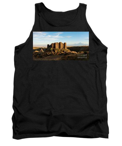 Famous Amberd Fortress With Mount Ararat At Back, Armenia Tank Top by Gurgen Bakhshetsyan