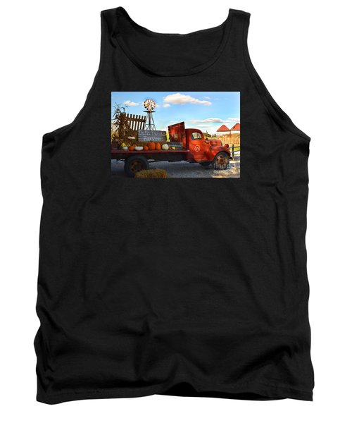 Farm With Red Truck In Fall  Tank Top