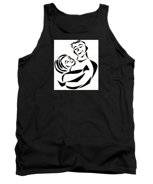 Tank Top featuring the mixed media Father And Child by Delin Colon