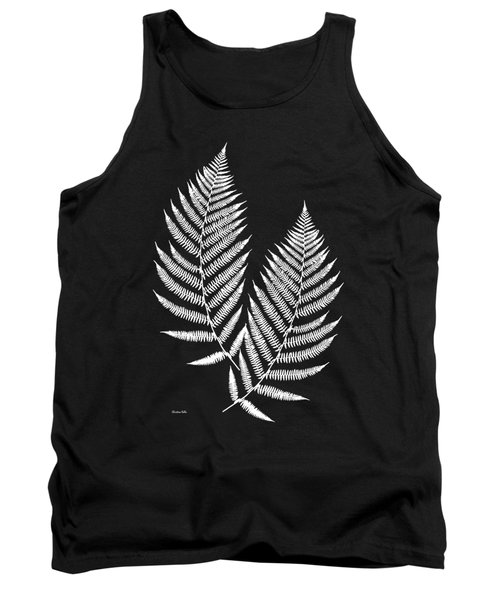 Tank Top featuring the mixed media Fern Pattern Black And White by Christina Rollo