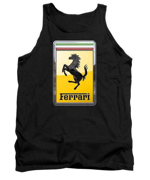Ferrari - 3 D Badge On Black Tank Top