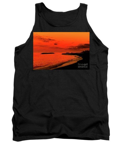 Fiery Lake Sunset Tank Top by Randy Steele