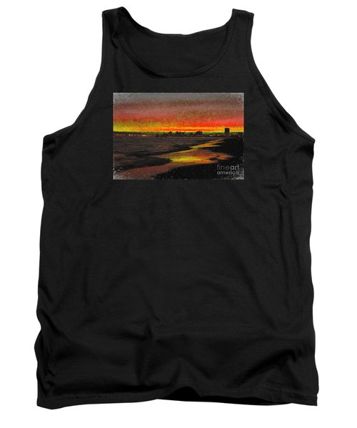 Tank Top featuring the digital art Fiery Sunset by Mariola Bitner