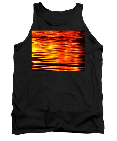Fire At Night On The Water Tank Top
