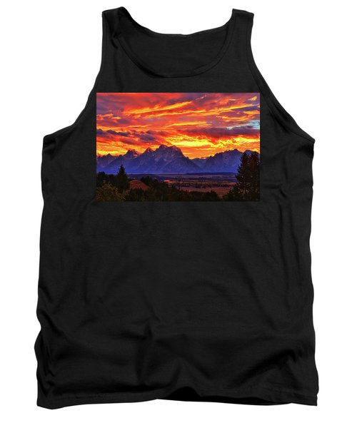 Fire In The Teton Sky Tank Top by Greg Norrell