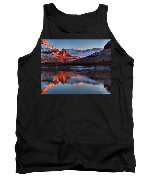 Tank Top featuring the photograph Fisher Towers Sunset On The Colorado by Adam Jewell