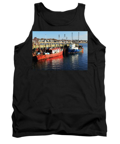 Fishing Boats At Provincetown Wharf Tank Top by Roupen  Baker