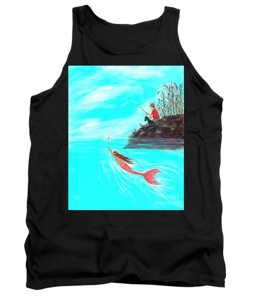 Tank Top featuring the painting Fishing Surprise by Leslie Allen