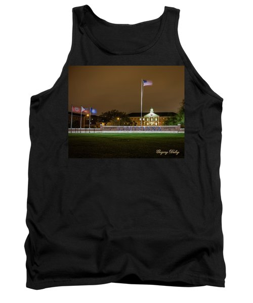 Flag At Night In Wind Tank Top