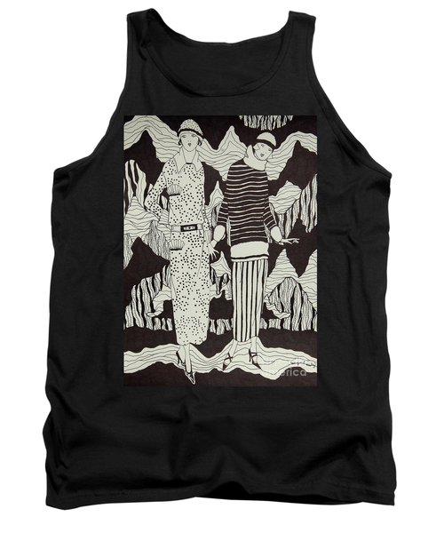 Tank Top featuring the drawing Flapper Girls by Tamyra Crossley