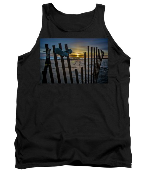 Flip Flops On A Beach At Sun Rise Tank Top