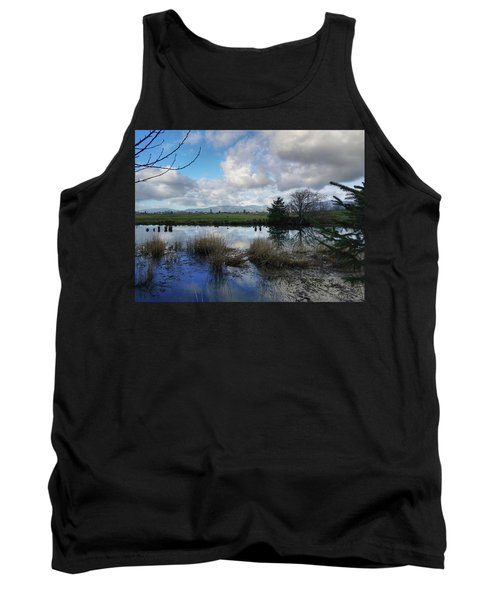 Flooding River, Field And Clouds Tank Top