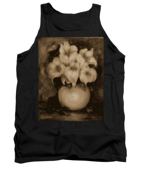 Floral Puffs In Brown Tank Top