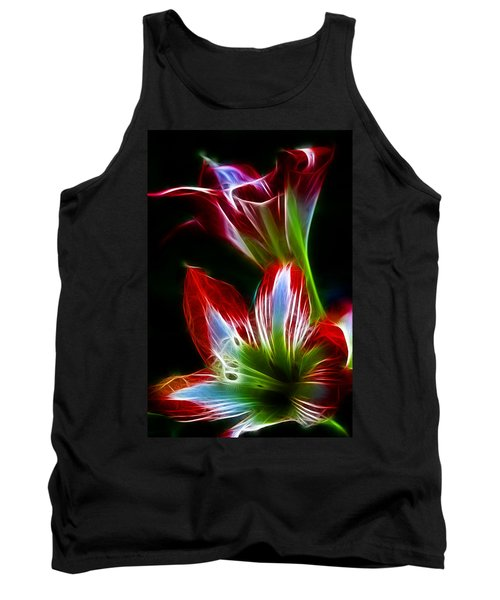 Flowers In Green And Red Tank Top
