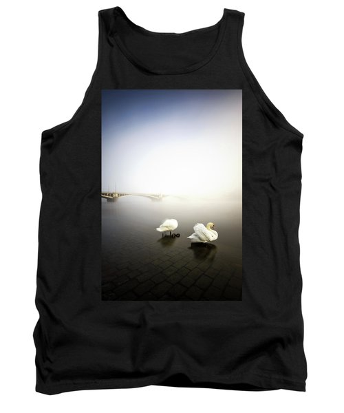 Foggy Morning View Near Bridge With Two Swans At Vltava River, Prague, Czech Republic Tank Top