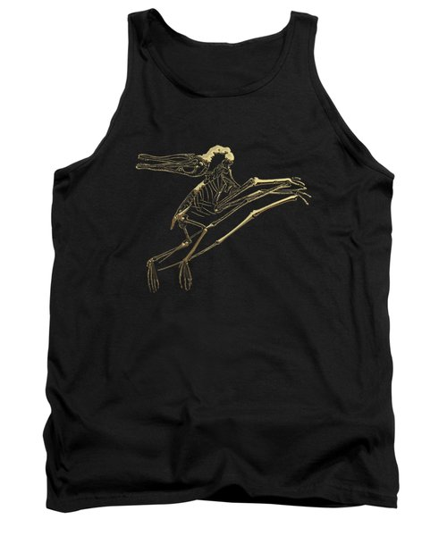 Fossil Record - Gold Pterodactyl Fossil On Black Canvas #2 Tank Top