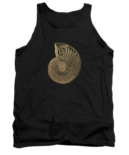 Fossil Record - Golden Ammonite Fossil On Square Black Canvas #1 Tank Top