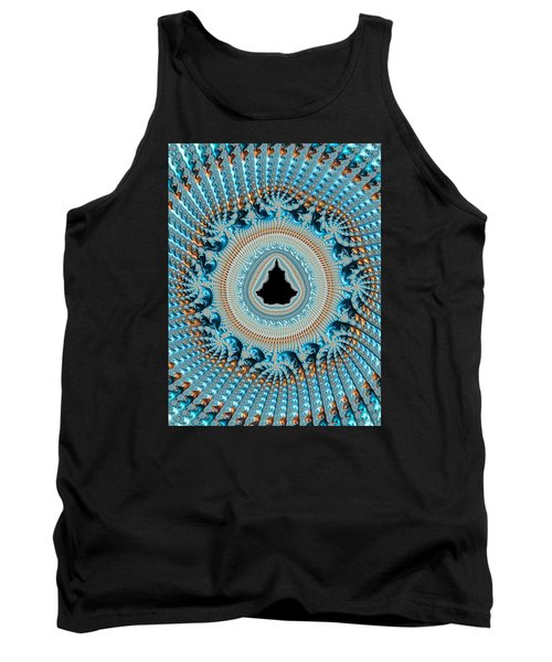 Fractal Art Crochet Style Blue And Gold Tank Top by Matthias Hauser