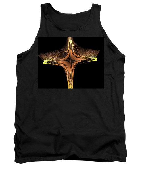 Tank Top featuring the digital art Fractal Cross Golden And Yellow by Matthias Hauser